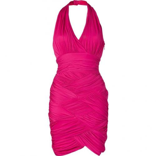 Halston Heritage Raspberry Basketweave Kleid