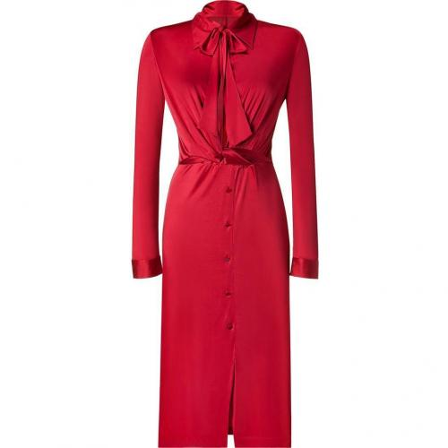 Halston Scarlet Red Button Front Kleid with Tie Neck