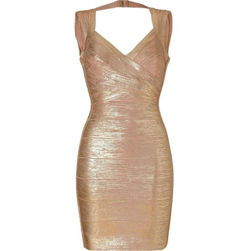 Hervé Léger Gold-Nude Shimmer Bandage Dress