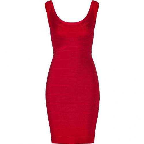 Hervé Léger Lipstick Red Scoop Neck Bandage Dress