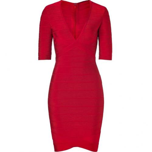 Hervé Léger Lipstick V-Neck Bandage Dress