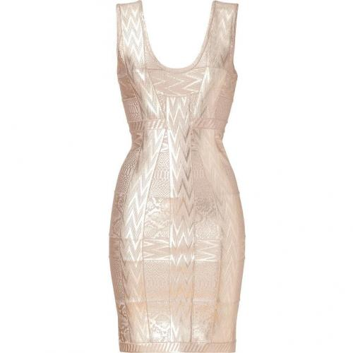 Hervé Léger Rose Metallic Printed Bandage Dress