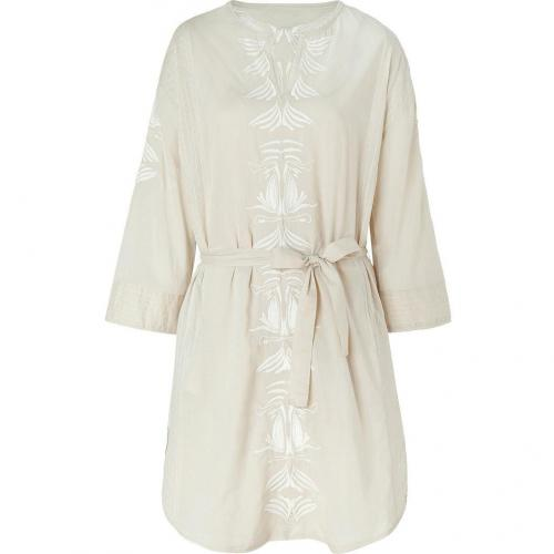 Hoss Intropia Beige/Ivory Embroidered Silk Tunic Dress