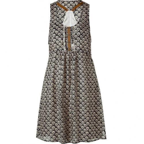 Hoss Intropia Black Printed Silk Dress With Drawstring