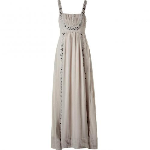 Hoss Intropia Stone Embroidered Maxi Silk Tank Dress