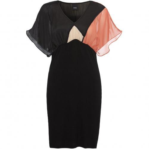 Ichi Kleid schwarz mit Orangenem Detail