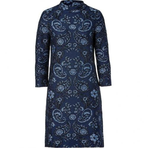 Issa Navy Brocade Jacquard Shift Dress
