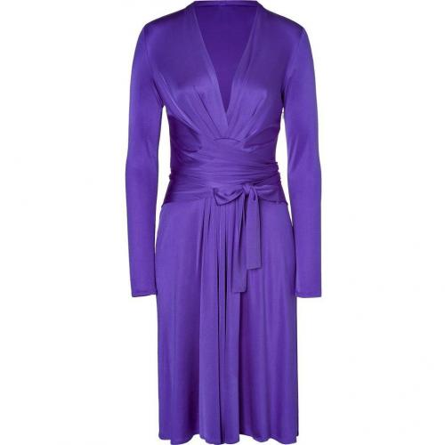Issa Purple Silk Jersey Wrap Belted Dress