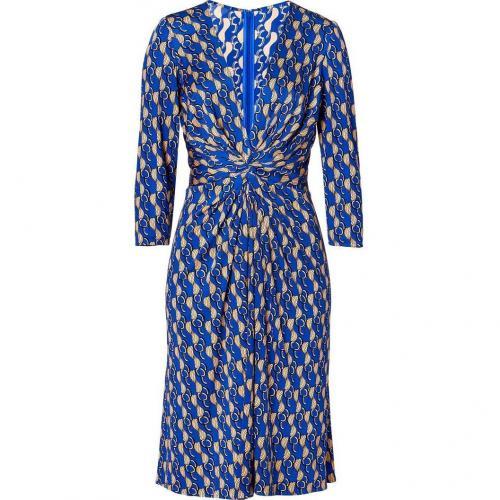 Issa Royal/Nude Multi Geometric Print Silk Jersey Dress