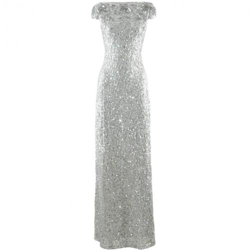 Jenny Packham Silver Sequin Evening Gown