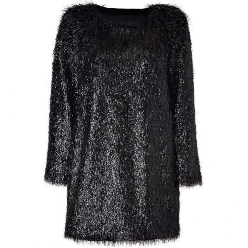 Jil Sander Black Allover Fringed Mini-Dress