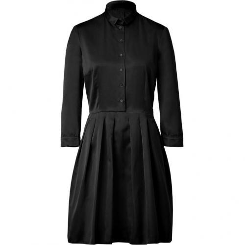 Jil Sander Navy Black Pleat Silk Sateen Dress