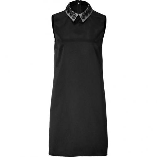 Jil Sander Navy Black Sleeveless Silk Sateen Dress