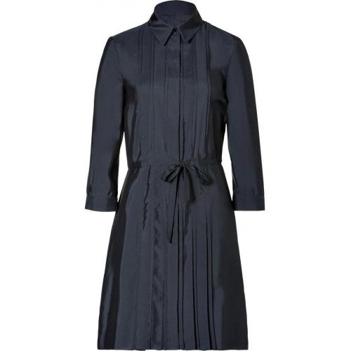 Jil Sander Navy Navy Pleated Silk Shirtdress