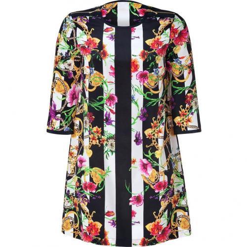 Juicy Couture Adorned Fall Stripe Silk Trellis Dress