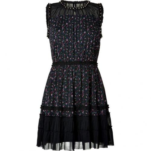 Juicy Couture Black/Multicolor Studded Floral Print Dress