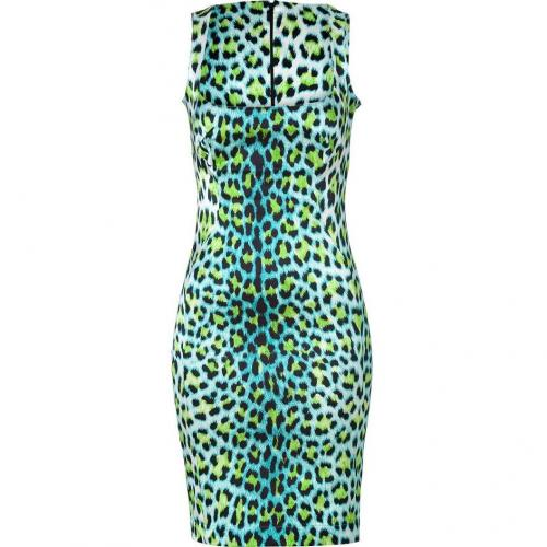Just Cavalli Turquoise/Black Leopard Print Dress