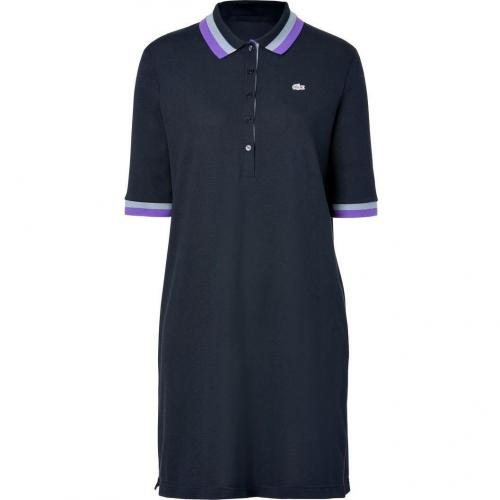 Lacoste Navy Cotton Polo Dress with Titanium/Petunia Striped Collar