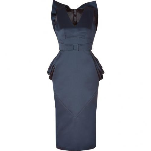 LWren Scott Blue Draped Hips Back Bow Dress