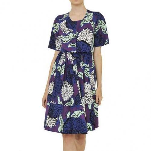 Marni Bedrucktes&Gefaltetes Kleid Aus Baumwollen Popelin