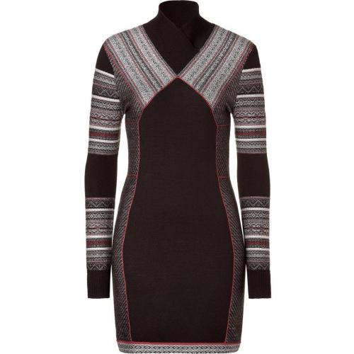 Matthew Williamson Black/Brown Panelled Knit Dress