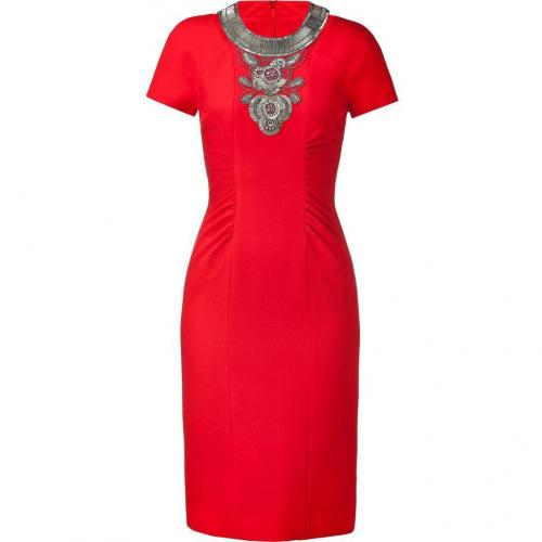 Matthew Williamson Bright Red Beaded Cut Out Sheath Dress