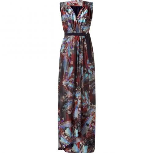 Matthew Williamson Rust/Multi Color Feather Printed Maxi Dress