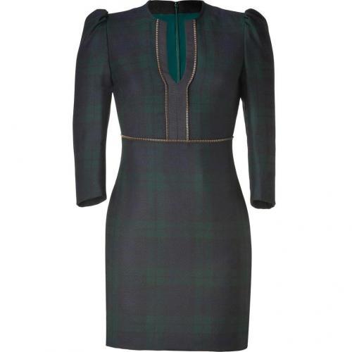 McQ Alexander McQueen Blackwatch Tartan Mini Slash Neck Wool Dress