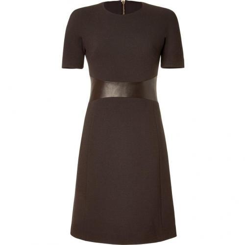 Michael Kors Chocolate Leather Trim A-Line Dress