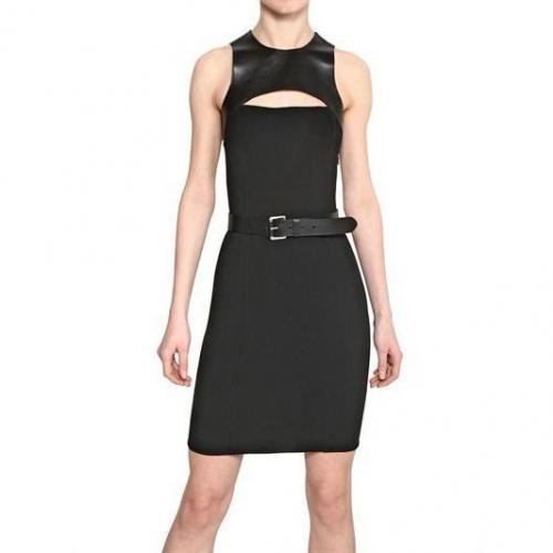 Michael Kors Nappa Leder Und Woll Jersey Kleid