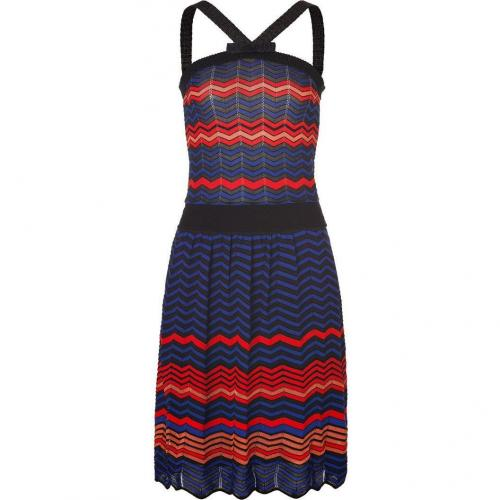 Missoni M Dark Blue/Red/Black Zigzag Knit Dress