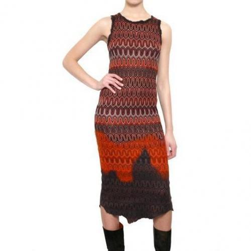 Missoni Viskose Woll Strick Kleid Orange