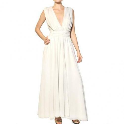 MSGM Techno Gerogette Langes Kleid Weiß