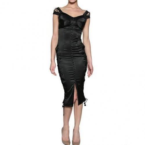Murmur Kleid Aus Spitzenmaschen Stretch Und Satin