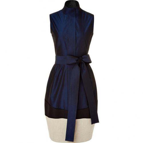 Narciso Rodriguez Night Blue Belted Dress with Contrast Trim