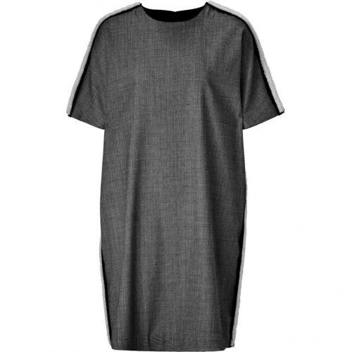 Neil Barrett Black/Grey Houndstooth Dress with Leather Trim