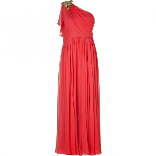 Notte by Marchesa Melon Rope Embellished One Shoulder Silk Chiffon Gown