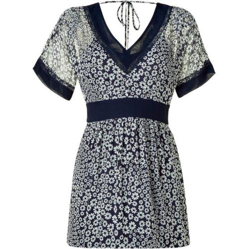 Philosophy di Alberta Ferretti Navy/White Floral Printed Silk Dress