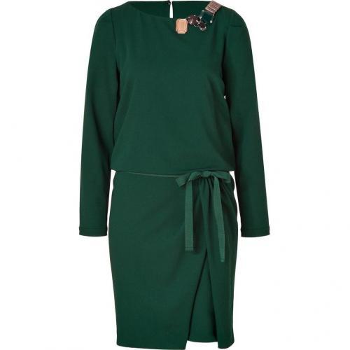 Piazza Sempione Green Stretch Wool Dress with Jeweled Neckline