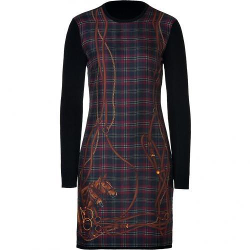 Ralph Lauren Black Black Silk Scarf Front Cashmere Dress