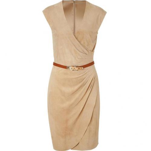 Ralph Lauren Black Deep Tan Suede Lea Dress