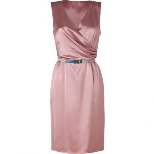 Ralph Lauren Black Dusty Rose Satin Silk Edwina Dress