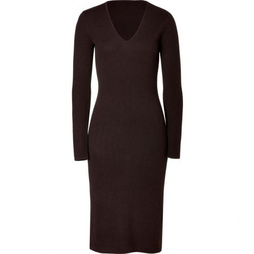Ralph Lauren Black Fine Chocolate Cashmere V-Neck Dress