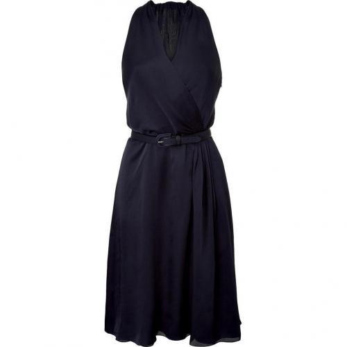 Ralph Lauren Black Navy Satin Face Mousseline Daphne Ann Dress