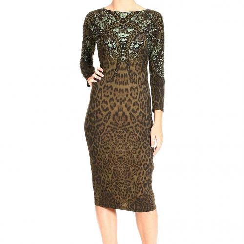 Roberto Cavalli 3/4 sleeve wool jerset snake jaguar print dress
