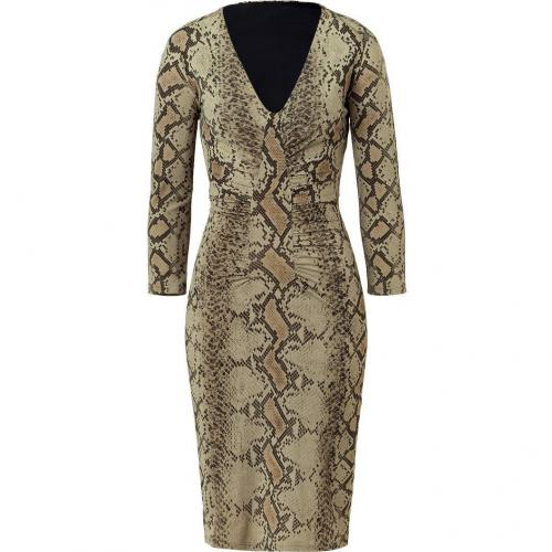 Roberto Cavalli Aloe Vera Phyton Print Draped Dress