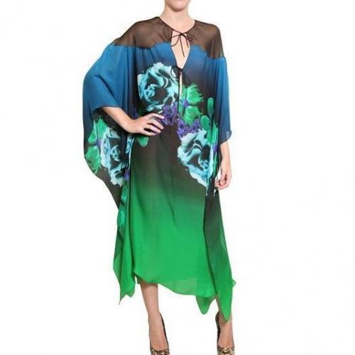 Roberto Cavalli Bedrucktes Seiden Chiffon Kaftan Kleid