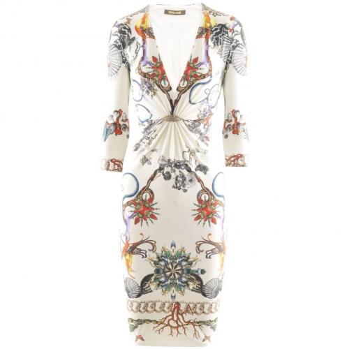 Roberto Cavalli Ecru Multi Print Dress Wings