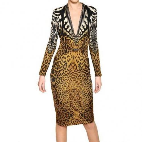 Roberto Cavalli Leopard Druck Viskose Jersey Kleid