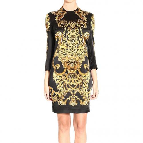 Roberto Cavalli Long sleeve silk baroque print dress